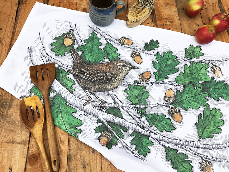 Wren and Oak Tea Towel