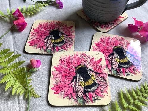 Bumblebee & Allium Coaster