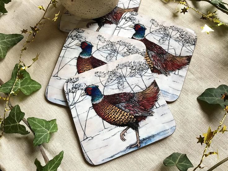Winter Pheasant Coaster