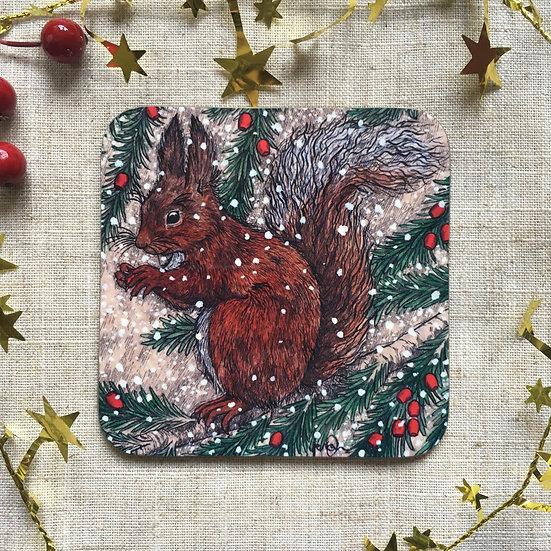 Snowy Squirrel Coaster