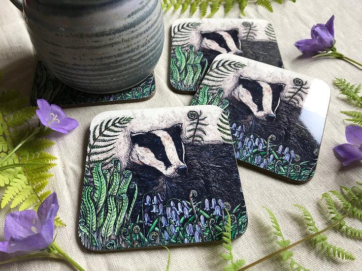 Badger with Bluebells & Ferns Coaster