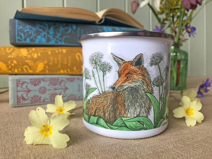 Fox and Ramsons Enamel Mug