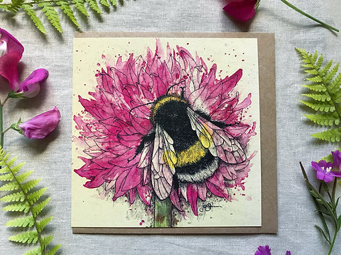 Bumblebee on Allium Card
