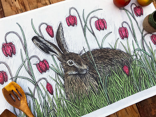 Hare and Fritillaries Tea Towel