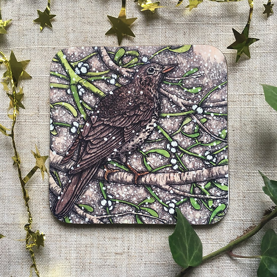 Mistle Thrush Coaster