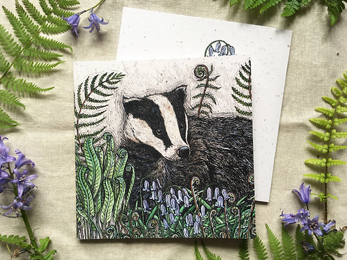 Badger with Bluebells & Ferns Notebook