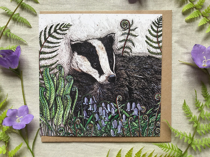 Badger with Bluebells & Ferns Card