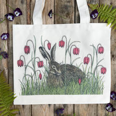 Hare and Fritillaries Tote Bag