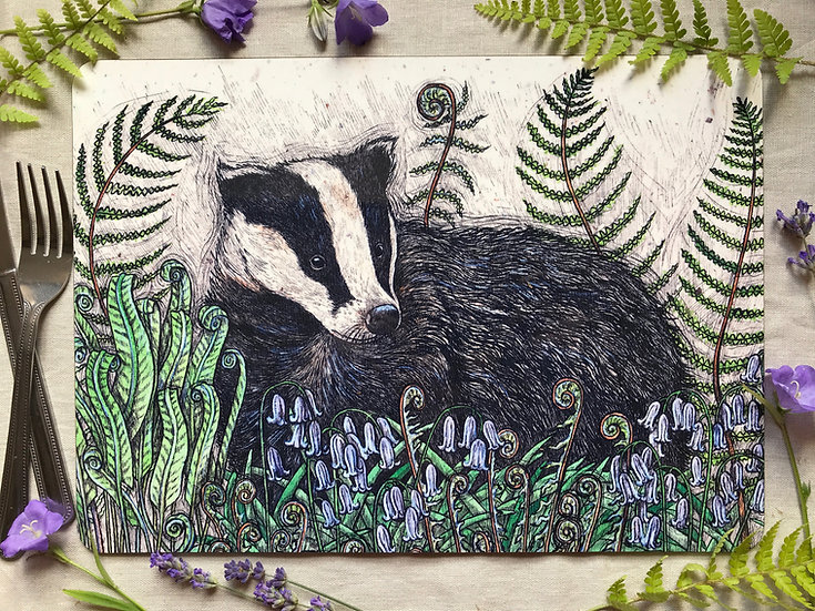 Badger with Bluebells & Ferns Placemat