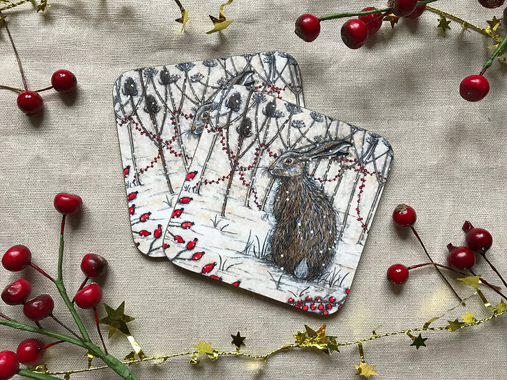 Winter Hedgerow Coaster