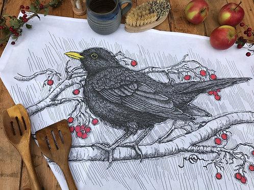 Blackbird Tea Towel