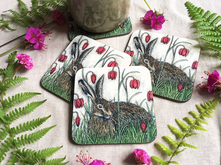 Hare and Fritillaries Coaster