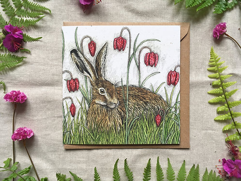 Hare and Snakeshead Fritillaries Card