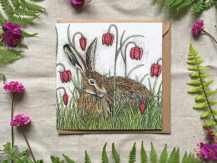 Hare and Snakeshead Fritillaries Card