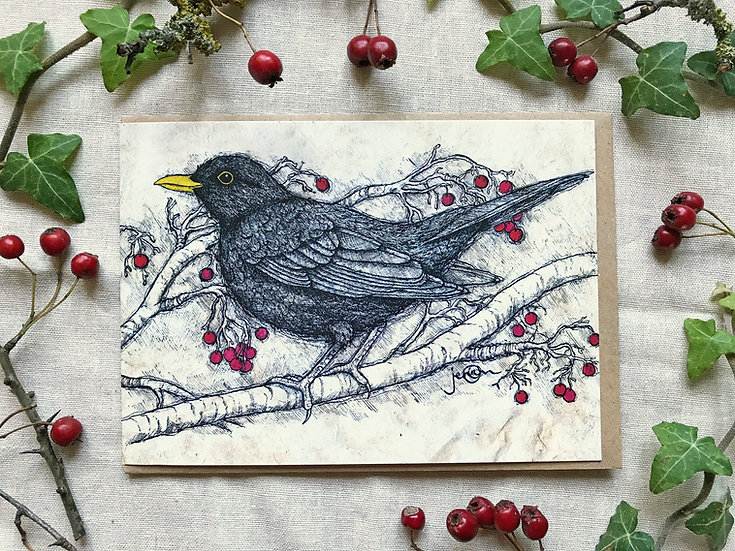 Blackbird & Hawthorn Card