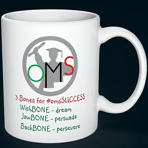 "Inspirational Colorful Coffee Mug, ""OMS 3 Bones for #omsSUCCESS"""