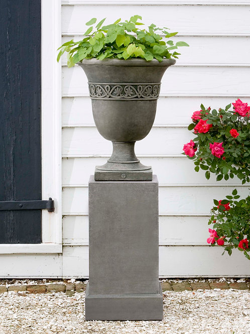 Wburg Strapwork Leaf Urn w/ Classic Tall Pedestal P-457 and PD-170