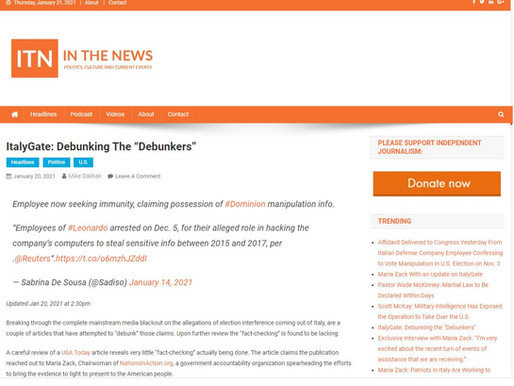 """ITN - In The News - ItalyGate: Debunking the """"Debunkers"""" - 1.20.21"""