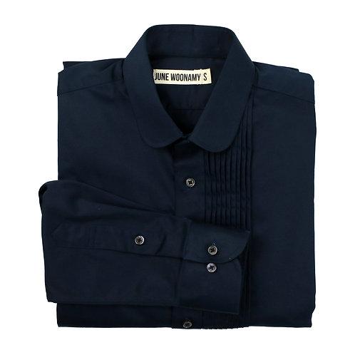 Peter-pan Collar Pleated Cotton Shirt