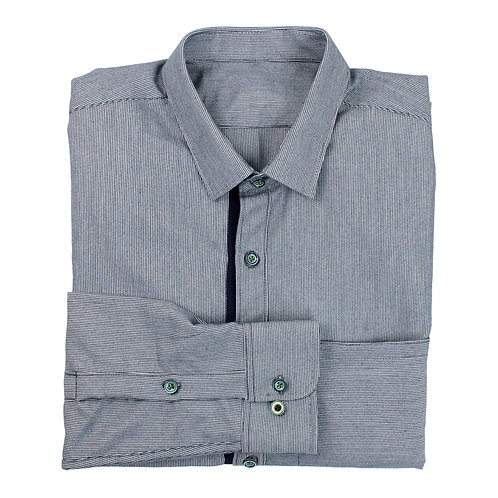 Navy Grosgrain Placket Poplin Shirt