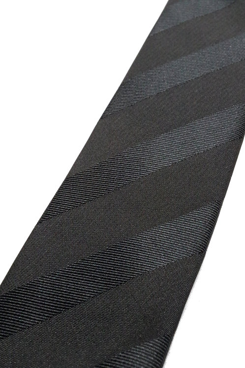 Black Tonal Stripe Slim Silk Tie