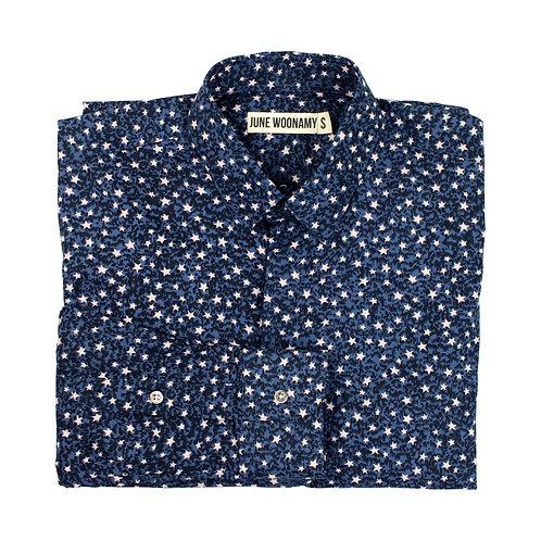 Japanese Star Print Cotton Poplin Shirt