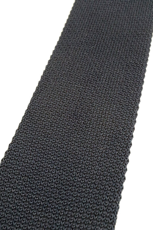 Black Plain Knitted Silk Tie