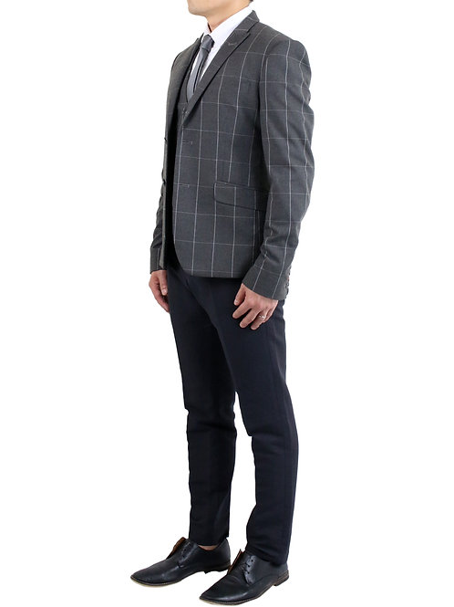 """Gregory"" Grey Tartan Plaid Suit"