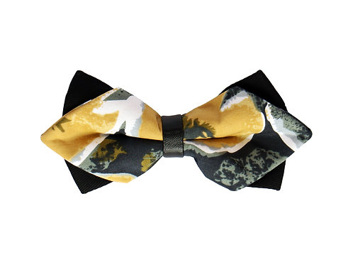 Yellow Tulip Abstract Print Bow Tie