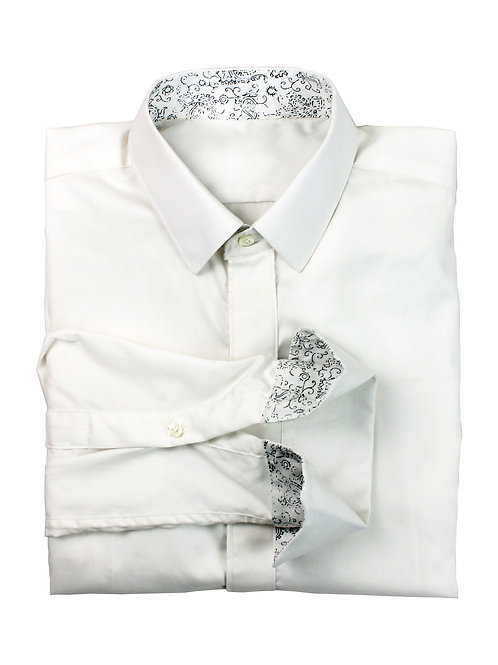 White Contrast Floral Detailed Poplin Shirt
