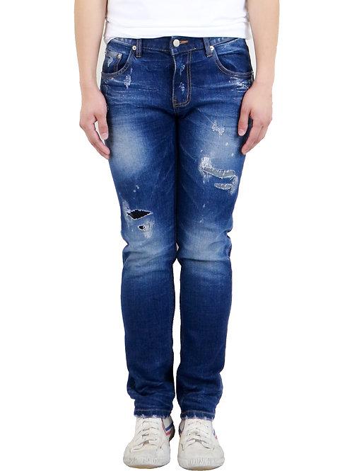 Slim-Fit Distressed Stone-wash Denim Jeans