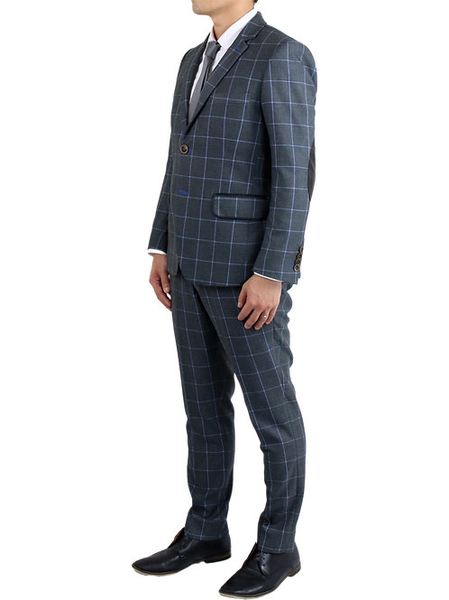 """Gregory"" Charcoal Tartan Plaid Wool Suit"