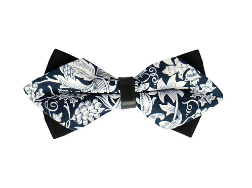 Dark Navy Tropical Print Bow Tie