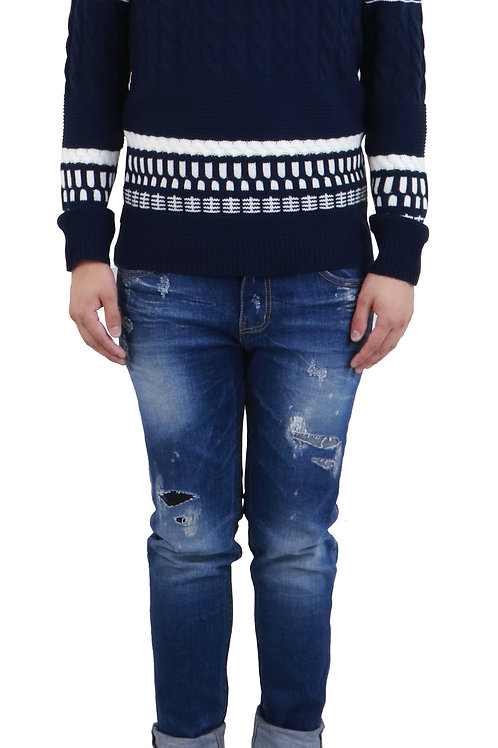 Navy & White Mixed Stitches Sweater