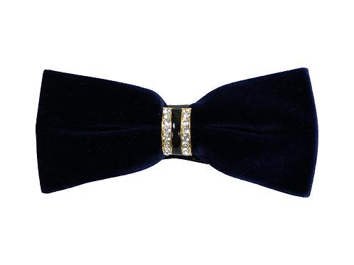 Dark Navy Velvety Bow Tie