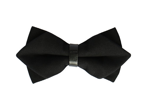 Black Leather Trimmed Cotton Twill Bow Tie