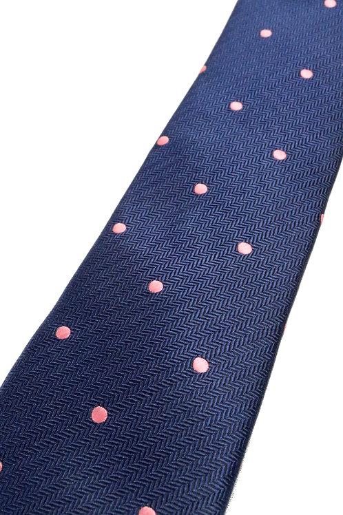 Navy Pinky Dot Silk Tie