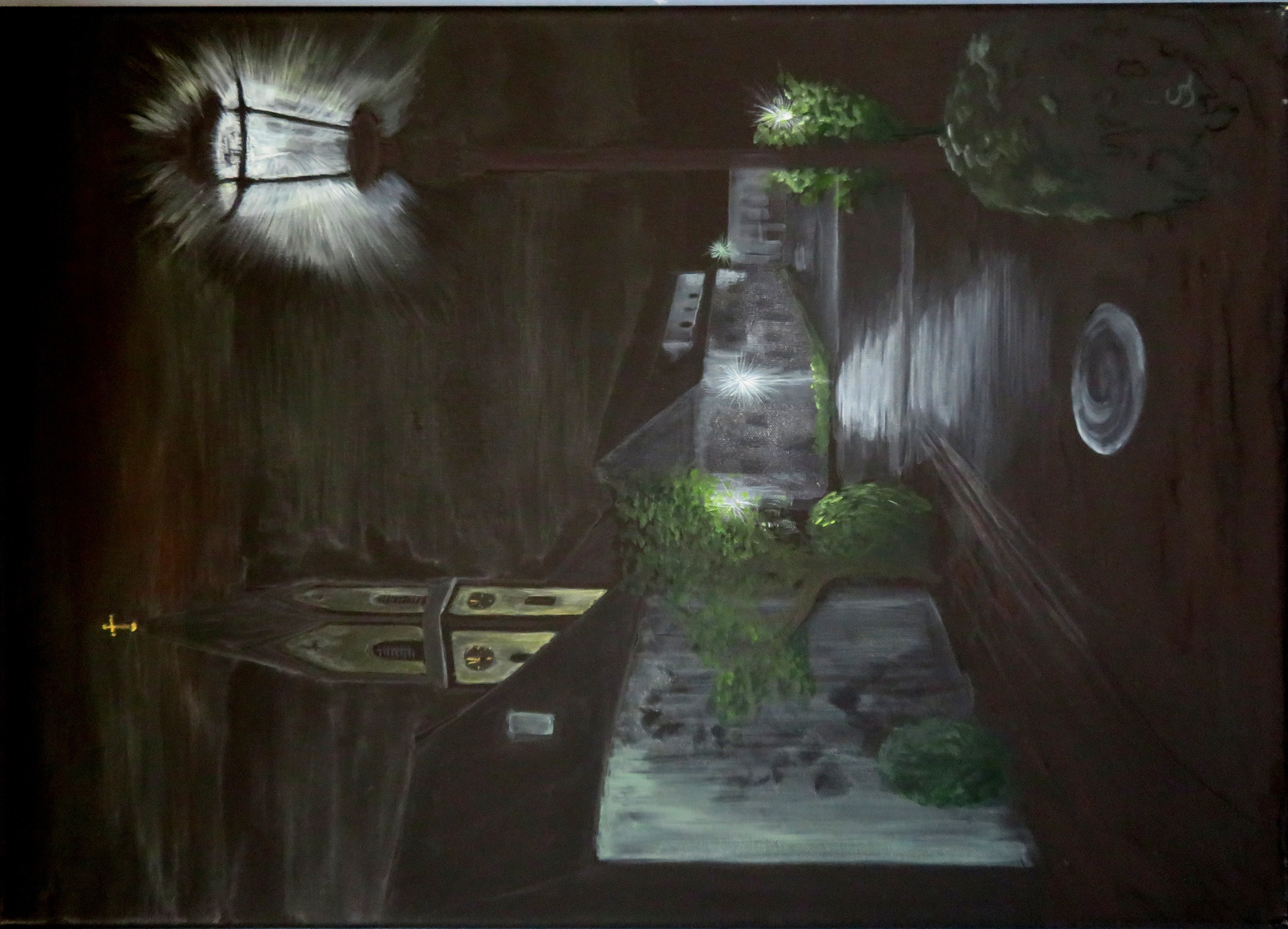 Nachts in Ebermannstadt (70x50)  Acryl