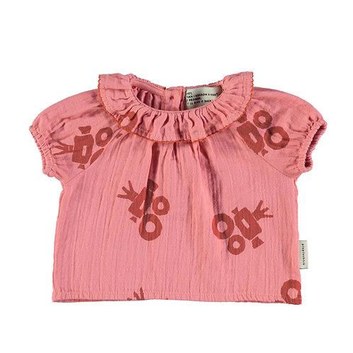 Baby Shirt Round Fringed Collar- Pink