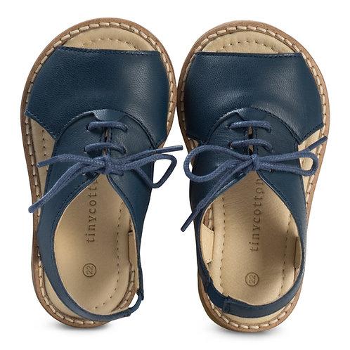 Navy Crepe Lace Sandals
