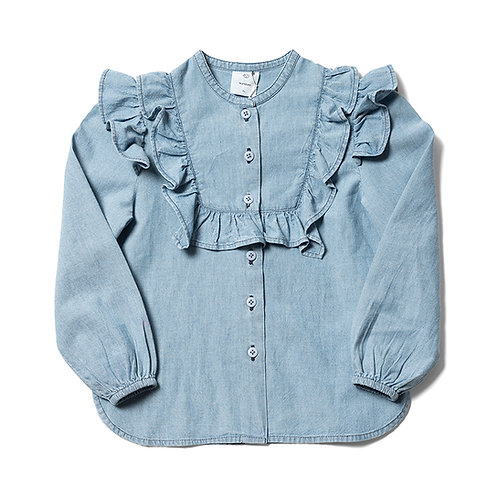Tux Frill Blouse - Light Bleached Chambray