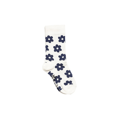Daily Ankle Sock - Ecru Navy Flowers