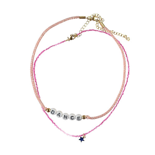 Necklace Dance Pink Beads