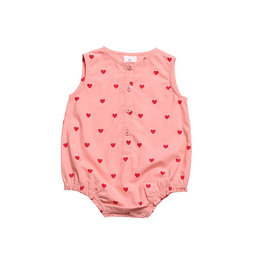 BABY WOVEN ROMPER BLUSH PINK