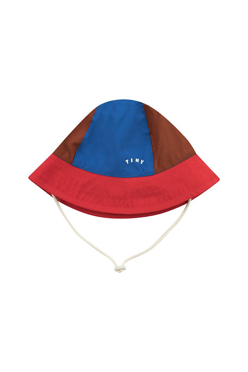 TINY COLOR BLOCK BUCKET HAT nut brown/red