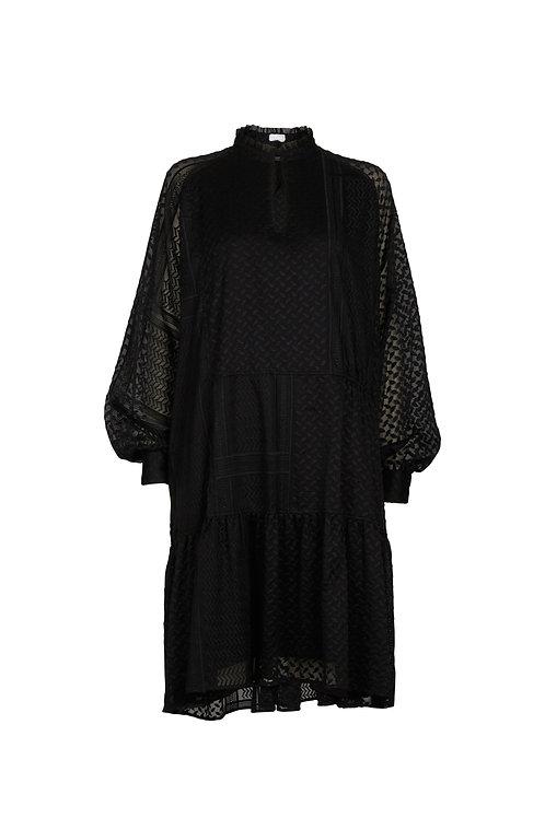 DRESS DARCYA, KUFIYA EMBROIDERY BLACK
