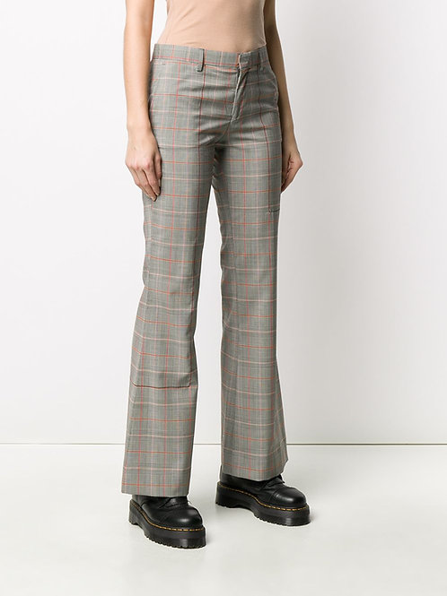 DECONSTRUCTED MULTICOLOR CHECKED FLARE PANTS