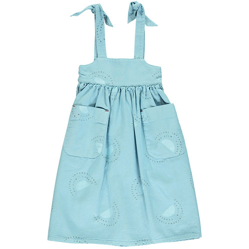 Long Dress Pockets-Light Blue