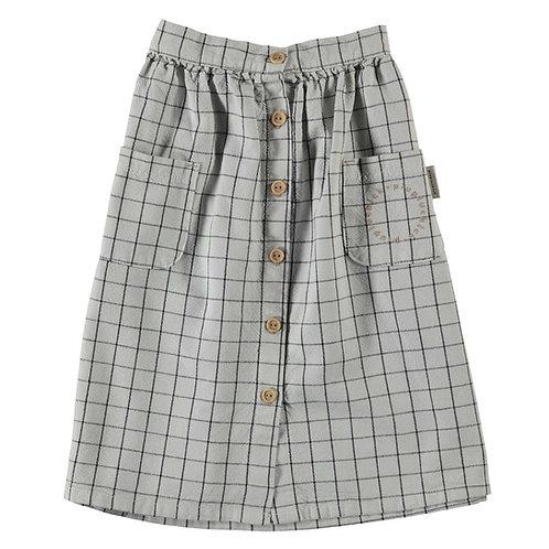 Long Skirt Checkered Light Grey