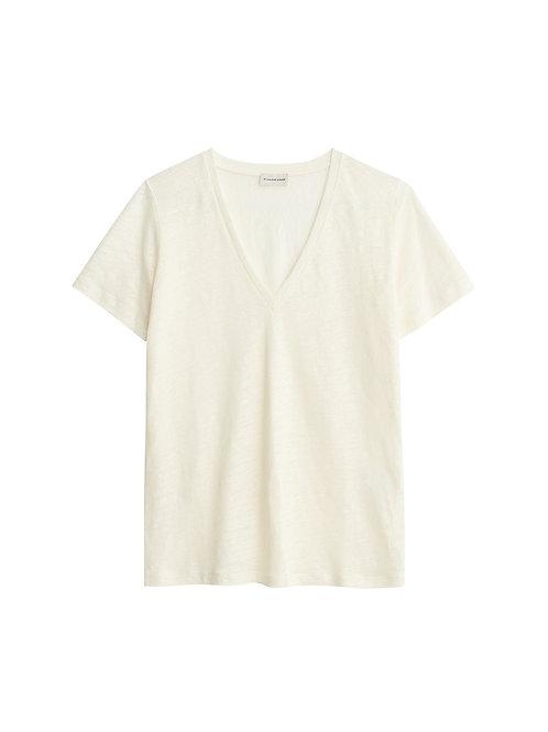 Zooey linen t-shirt-Soft White